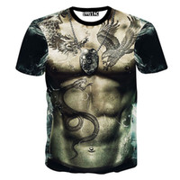 Wholesale Unique Mens Shorts - Wholesale-Summer New Funny Naked Nude Mens Body Of Tattoo Printing T-Shirt Hip Hop T Shirt Male Tops Tees Unique 3d Printed Clothing