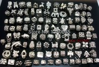 Wholesale Tibet Silver Bead Caps - Wholesale-Wholesale 50pcs Mixed Tibet Silver Plated Motley Variety of Big Hole Beads Fit European Charm Bracelet and Necklace MEB2