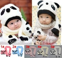 Wholesale Kids Panda Gloves - Wholesale-2015 new design children's cap hats Cartoon shape pandas boys and girls baby scarves + hats 2 pieces sets ,kids suits caps