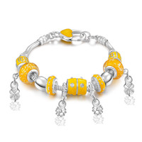 Wholesale Orange Beaded Bracelets - Free Shipping with tracking number Top Sale 925 Silver Bracelet Orange Love Panla Bracelet Silver Jewelry 10Pcs lot 1522