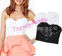 Wholesale Solid Lace Tank Tops - Floral Lace Bustier Crop Top Bra Bralette Corset Strapless Bodycon Tank Cami Sexy Corselet Camis Fashion Tops drop shipping