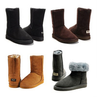 Wholesale brown flat knee boots - 2018 New mens womens WGG Australia Classic snow shoes winter Couple shoes fashion discount Ankle Knee shoes size 5-12