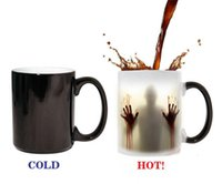 Wholesale Color Changing Magic Coffee Mug - fashion hot walking dead Zombie Coffee Mug cup Heat sensitive Magic Morphing Color Changing Tea Mug Transformation G158