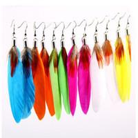Wholesale Goose Feathers Earrings - Women Girls Trendy Eardrop Goose Feather Dangle Earrings Fashion Jewelry Accessories EAR-0112
