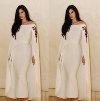 Wholesale Feather Wraps - Saudi Arabic Mermaid Evening Dresses With Cape Wraps Sash Ribbon Ankle Length Prom Dress Custom Made Off The Shoulder Aso Ebi Party Gowns