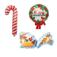 Wholesale Inflatable Candy - 50Pcs lot Red Candy Cane Christmas Balloon, Foil Xmas Party Balloon, New Year Holiday Merry Christmas Kids Balloon inflatable Toys balao