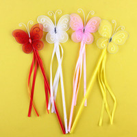 Wholesale Stick Butterflies Wedding - New Colors Princess Butterfly Fairy Wand Magic Sticks Birthday Party Favor Girl Gift
