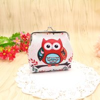 Wholesale owl dress blue - Vintage cute owl shape coin purse PU key holder wallet hasp small gifts bag cheap clutch handbag fashion coin case lab
