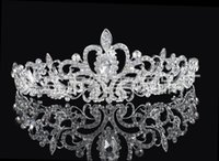 Wholesale Crystal Rhinestone Sequin - High Quality Shining Beaded Crystals Wedding Crowns Bridal Veil Tiara Crown Headband Hair Accessories Party Wedding Tiara