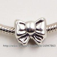 perlen silber armband armband großhandel-Neue 100% S925 Sterling Silber Gewinde Bogen Charm Bead Passend Europäische Pandora Schmuck Armbänder Halsketten Anhänger