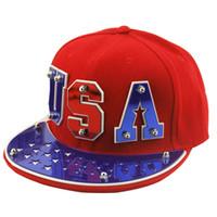 Wholesale Studded Hip Hop Hat - Luxury Unisex Punk Studded Baseball Hats For Men And Women Acrylic Letter Hip Hop Snapback Fun Street Dance Flat Cap