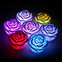Wholesale Led Valentines Roses - 7 color changing led light Romantic rose led light rose led lamp Flashing light for Valentines day gift wedding gift free shipping in stock