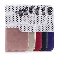 Butterfly Dot Flip Wallet Couro Case para Iphone 8 7 6 6S Plus 5 5S SE Huawei P9 P8 Lite Redmi NOTE3 3S Stand Moda Telefone Cover 10pcs