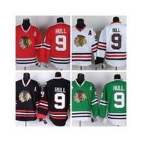 hokey formaları bobby gövde toptan satış-Ucuz erkek Chicago Blackhawks Hokeyi Formalar # 9 Bobby Hull Jersey Ev Kırmızı Yol Beyaz Üçüncü Siyah Yeşil Dikişli Jersey Bir Yama