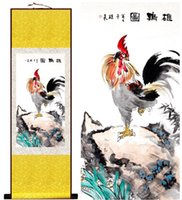 Wholesale spray cock - 1 Piece HD Printed Rooster Cock Wall Pictures Chinese Scroll Silk Wall Art Poster Picture Painting Home Decoration Wall Hanging