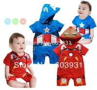 Wholesale Iron Man Romper - Wholesale-2015 newest Boy's Iron Man romper Baby One-Piece romper Blue Captain America one-piece with hat jumpsuit