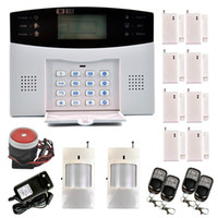 Wholesale Gsm Pstn Burglar Alarm - Safearmed TM SF-9908LCD Wireless Quad Band GSM PSTN Home House Keypad Security Alarm Burglar Auto Dial System Kit 99 Wireless and 8 Wired