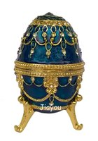 Wholesale Keepsake Jewelry Boxes - faberge egg jewelry box bejeweled trinket box keepsake urns metal crafts decoration