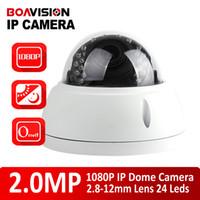 Wholesale Cmos 12mm - Onvif 1920*1080P Dome IP Camera 2MP 24Pcs IR Leds Security HD 2MP IP Camera Network Cameras IR-CUT P2P Plug and Play 2.8-12mm Manual Lens