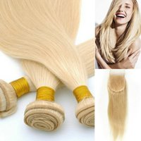 Wholesale Color Hair Dye Set - Brazilian Hair Weave with Closure Straight #613 Bleach Blonde Fashion Wild Weft and Lace Top Set