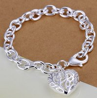 Wholesale Heart 925 Bracelet Chain Hollow - 2015 Korea Fashion Very Popular Women's Hollow Out 925 Sterling Silver Bracelet with Heart Pendant 1PC