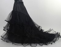 Wholesale Bridal Crinoline Color - Chic Black Color 2 Hoops 3 Layers Slip Mermaid Petticoat Underskirt Colorful Bridal Petticoat