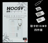 Wholesale Iphone5 Pin - 4 in 1 Nano Micro Sim Card Adapter Noosy SIM Adapter for iPhone5 5S 4S with Retail Package 500Set