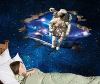 Wholesale Art For Large Wall Spaces - 60*90cm Wall Sticker Space Astronauts Tycoon 3D Effect Removable PVC Wall Decals free shipping in stock