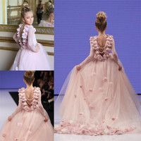 Wholesale Gold Pageant Gowns For Girls - Girl Pageant Gowns For Teens Lace Appliques Long Sleeves Communion Dress Princess Prom Party Dresses Pink Flower Girls Dresses For Weddings