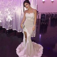 Wholesale Holiday Lights Train - 2018 Spaghetti Straps Lace Mermaid Long Prom Dresses Satin Appliques Split Sweep Train Prom Evening Gowns Holiday Dresses