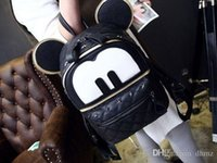 Wholesale Small Ears Cartoons - Korean version of the cartoon character Mickey Mouse ears with two backs rivet hip-hop street girls backpack shoulder bag tide