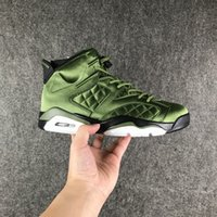 Wholesale Race Leather Jacket - 2017 Air Retro 6 Flight Jacket Pinnacles Basketball Shoes Sneakers Men Nylon Army Green Top Quality With Original Box Size40-47.5