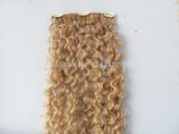 Wholesale Cheap Real Hair Extensions - Cheap Malaysian Virgin Hair Curly Clip In Hair Extensions 7Pcs set Remy Blonde Human Hair Extensions Real Human Natural Hair