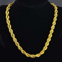 "Wholesale Thick Ropes - 7mm wide thick twisted chain real 18k yellow gold filled men's rope chain necklace 23.6"" length"