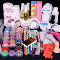 Wholesale Acrylic Powder Liquid Tips - Full UV Acrylic NAIL Primer 24 Powder Liquid KITS ART Brush Polish TIPS KIT 124