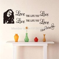 Gros Bob Marley Quotes Vinyl Stickers muraux Affiche Wall Art Wallpaper Stickers muraux Décoration Taille