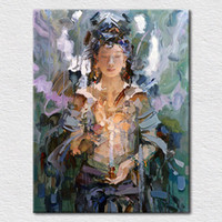 Wholesale Oil Painting Goddess - hand made asian boudddha oil painting female goddess buddha canvas wall art religion decorative pictures from china T1P33