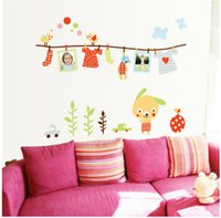 Wholesale Baby Photo Frame Cartoon - 1Set Hot sale Cloths Rack and cartoon Animal birds Photo Frame Nursery Daycare Sticker for baby room wall stickers