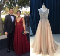Sparkly Deep V neck Pearls Champagne 2021 Pageant Prom Dress Wine Red Cheap Long Backless See Through Beaded Backless Tulle Evening Gown