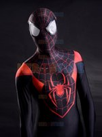 Wholesale Kids Costumes White Suit - 2015 3D Printing Ultimate Miles Morales Spider-Man Costume spandex fullbody halloween cospaly spiderman zentai suit hot sale free shipping