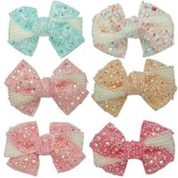 """Wholesale Boutique Hair Piece - Boutique Rhinestones Hair Bows With Clips For Girls Kids Hair Accessories 12 pieces lot 4"""" ZH12-14081415"""