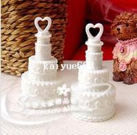 gâteaux de baby shower blanc achat en gros de-Livraison gratuite 24pcs / lot blanc gâteau de mariage bouteilles de bulles de savon bouteilles d'eau de savon faveurs de douche de bébé