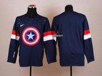 kaptan amerika hokeyi toptan satış-2015 En Yeni Toptan Erkek Blank Mavi / Beyaz Kaptan Amerika Moda Buz Hokeyi Formalar