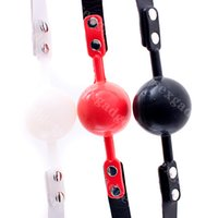 Wholesale Sex Mouth Gear - 48mm Lockable Slicone Ball Gag BDSM Games Mouth Gags Bondage Gear Adult Sex Toys Products for Women Black Red White