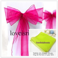 "Wholesale Wholesale Sheer Fabrics - Free shipping-Wholesale-25pcs Fuchsia 8"" (20cm) W x 108"" (275cm) L Sheer Organza Sashes Wedding Party Banquet Chair Organza Sash Bow"