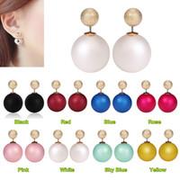 Wholesale Mother Pearl For Sale - Hot Sale New Fashion Hot Sale Peekaboo Earrings Double Stud Earrings Double Pearl Stud Earrings for Women