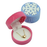Vente en gros-Lovely Snowflake Velvet Rings Necklace Jewelry Display Gift Box Case Container