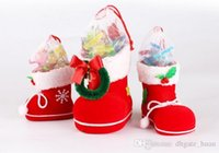 Wholesale Wholesale Novelty Candy Free Shipping - For Christmas Decoration Red Candy Socks Novelty Beautiful Gift Sock S M L For Party Free ship