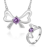 Wholesale b 925 china - Fashion Wedding Jewelry Elegant 925 Sterling Sparkly Cute Natural Amethyst Bowknot Necklace Rings Jewelry Set S738-B