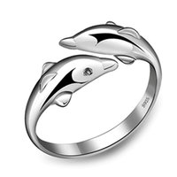 Wholesale Girl Dolphins - Wholesale-fashion 925 Sterling Silver Double Dolphin Ring Opening Adjustable Silver Plated Rings for girl Charm Jewelry Valentine's Gift